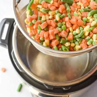 frozen veggies in steamer basket