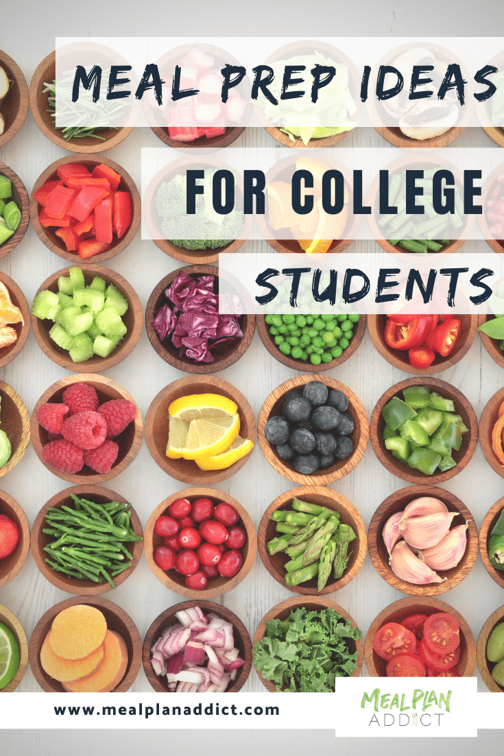 meal prep ideas for college students pinterest image showing fruits all cut up in little bowls