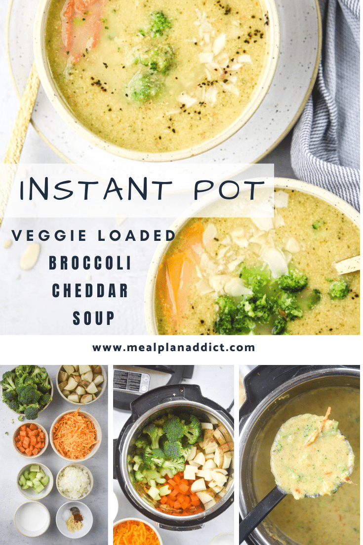instant pot broccoli cheddar soup collage pin