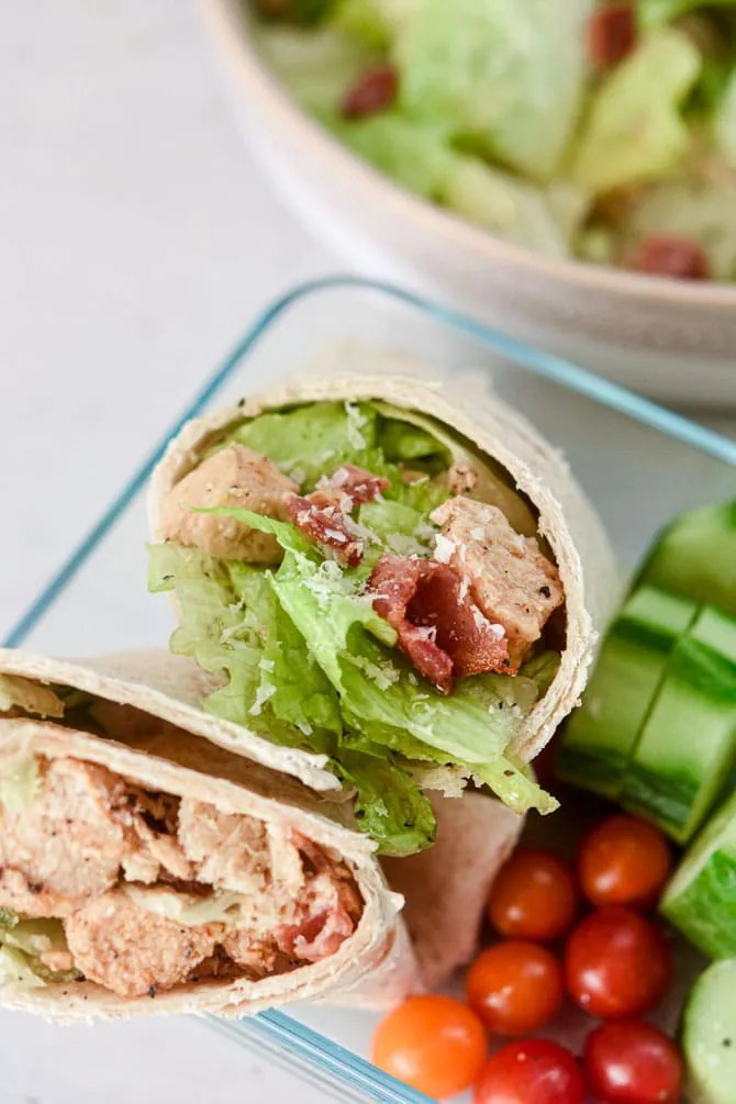 chicken ceaser wrap with tomatos and cucumbers