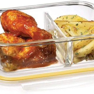 starfrit 2 compartment glass container