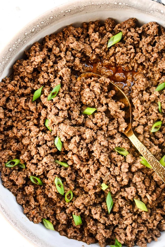 Instant Pot Taco beef in bowl flatlay