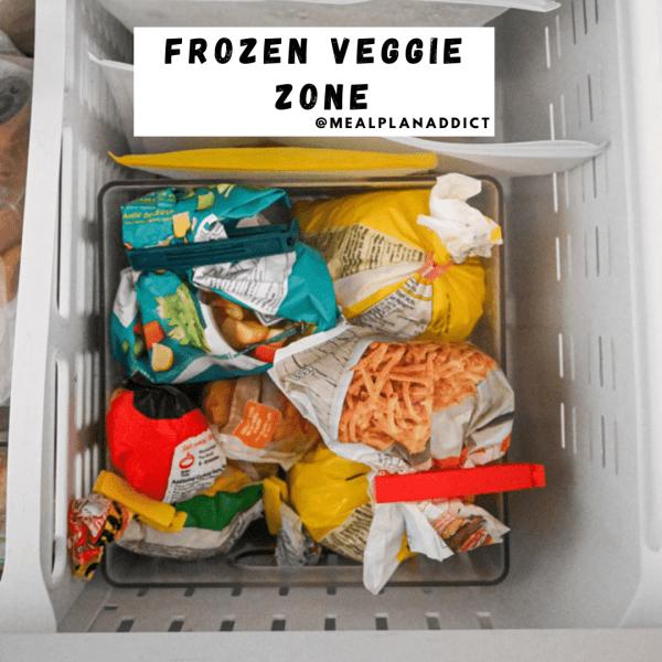 frozen veggie zone in small freezer