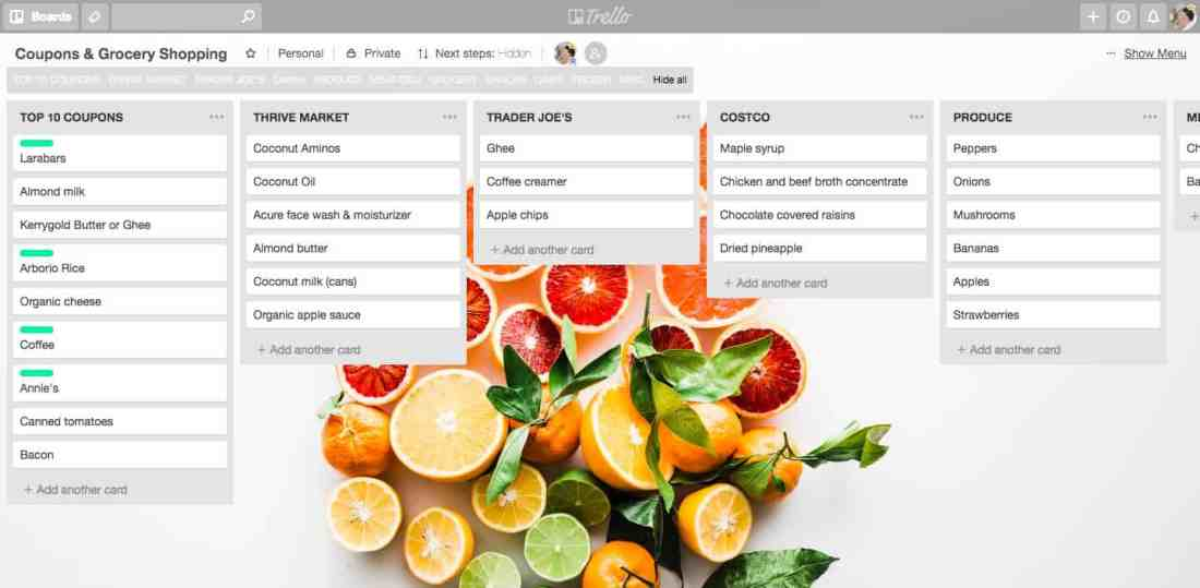 screenshot of Trello grocery shopping board example