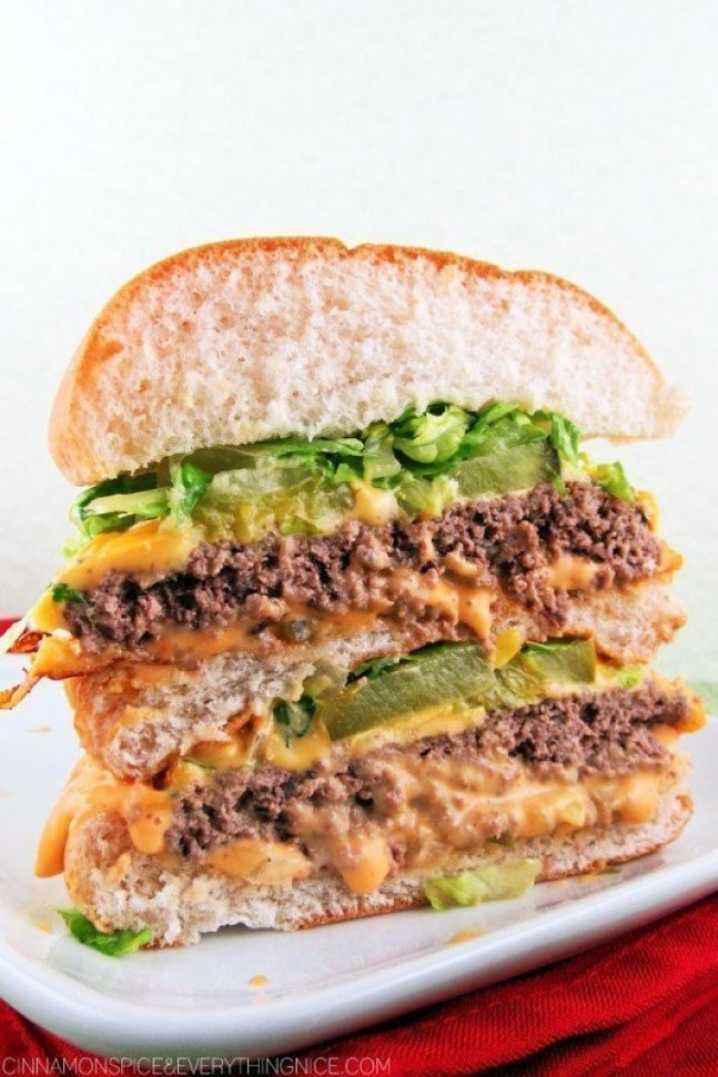 Homemade Big Mac  recipe for those that miss their burger takeout using these copy cat restaurant recipes. Save money plus help your family adapt more easily to a meal plan with these 20 restaurant favourite recipes.