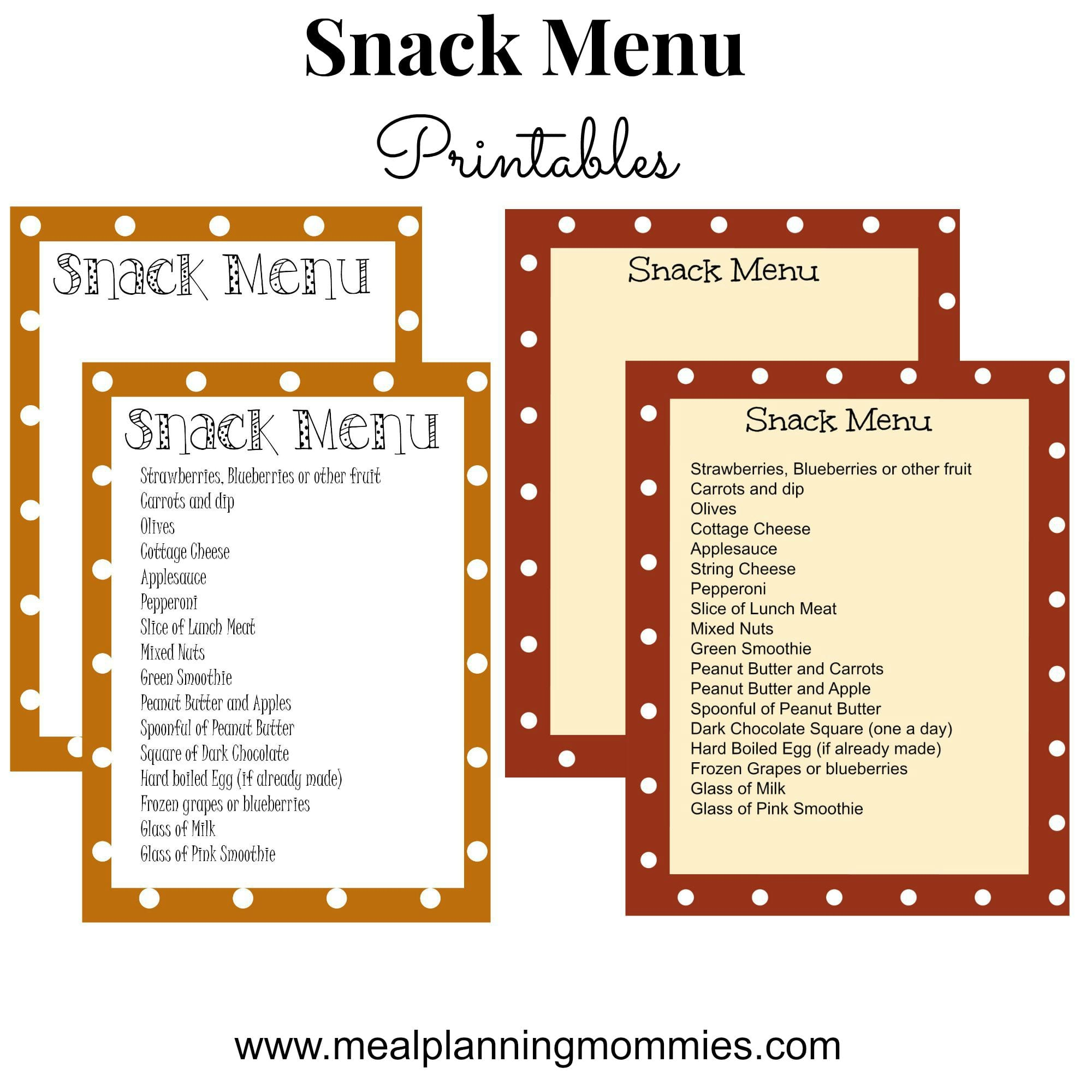 Snack Menu Printable