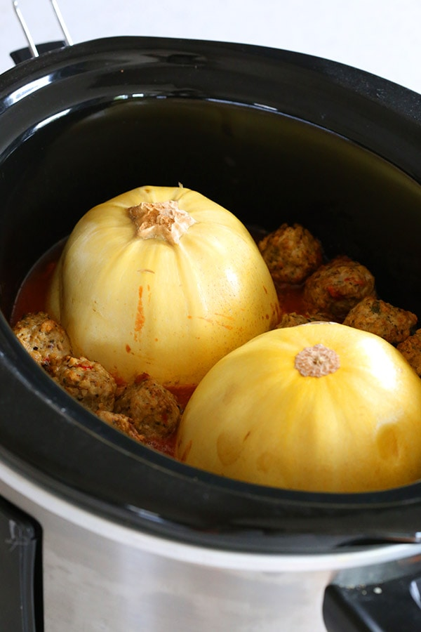 slow cooker spaghetti squash and meat balls