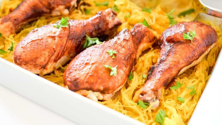 One Dish Sicy BBQ Chicken Drumsticks & Spaghetti Squash-, One Dish Spicy BBQ Chicken Drumsticks & Spaghetti Squash