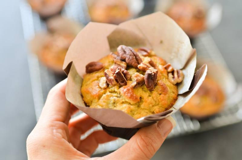 One Bowl Maple Pecan Banana Bread Muffins-3