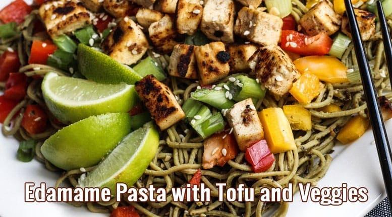 Edamame-Pasta-with-Tofu-and-Veggies recipe