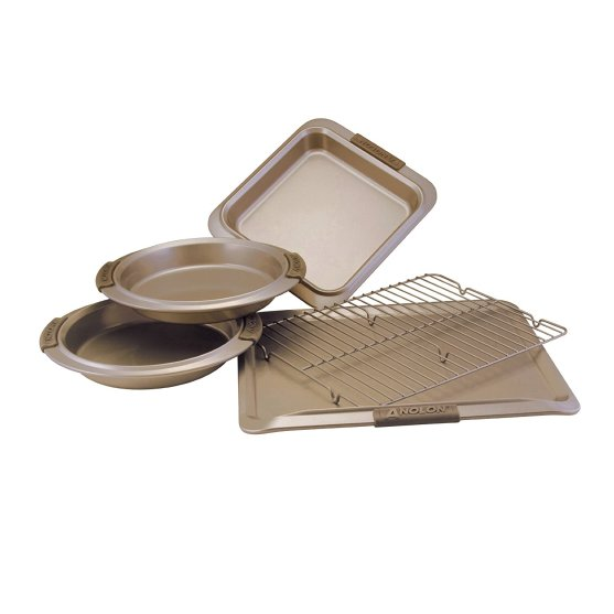 Anolon Advanced Bronze Nonstick Bakeware 5-Piece Set with Silicon Grips