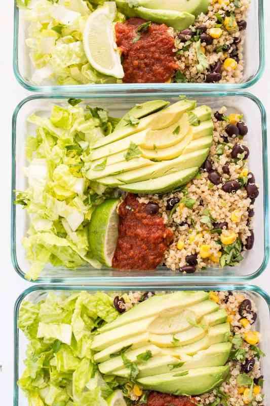 Meal Prep Vegetarian Quinoa Burrito Bowls