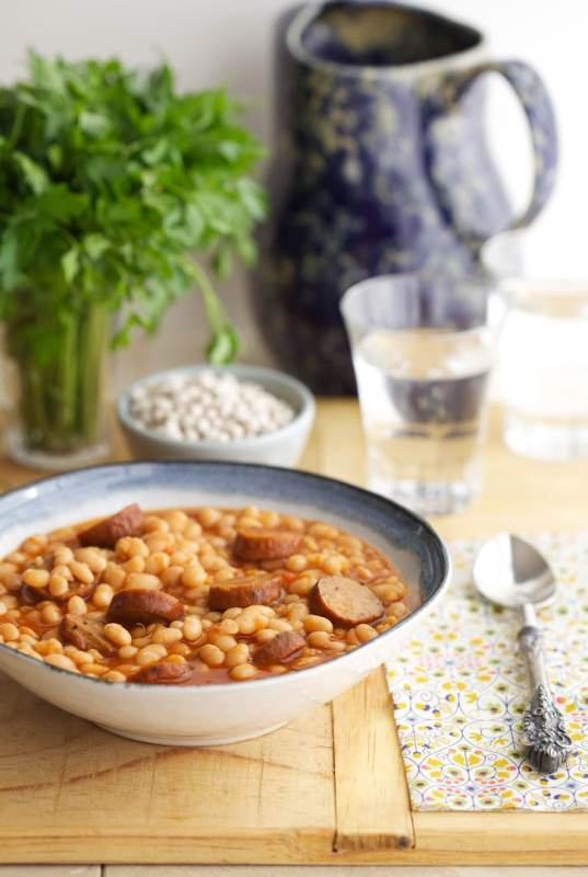 Slow Cooker Beans and Sausage