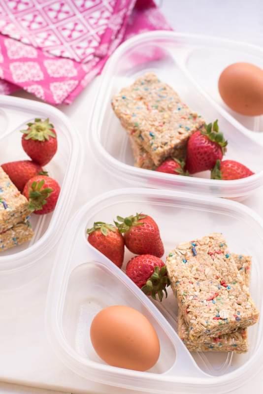 Cake Batter Oat Meal Prep Bars
