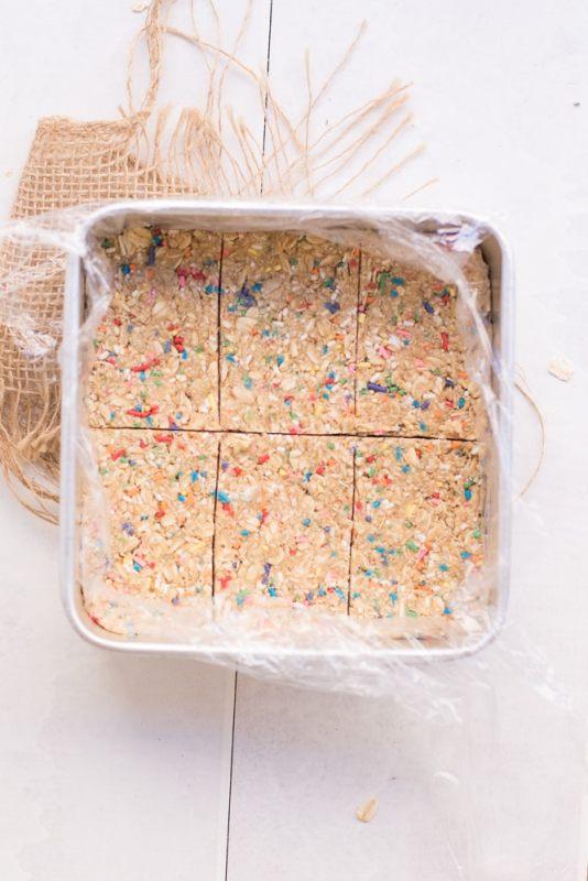 Cake Batter Oat Meal Prep Bars