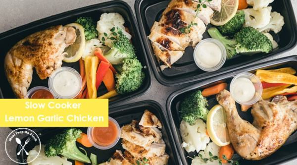 Slow Cooker Lemon Garlic Chicken Meal Prep Recipe