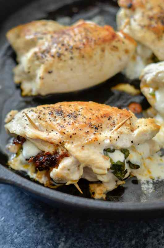 Keto Sundried Tomato, Mozzarella & Basil Stuffed Chicken - Plated