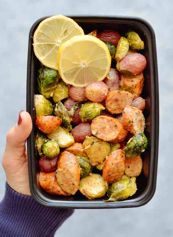 One Pan Roasted Brussels Sprouts, Grapes & Sausage Meal Prep