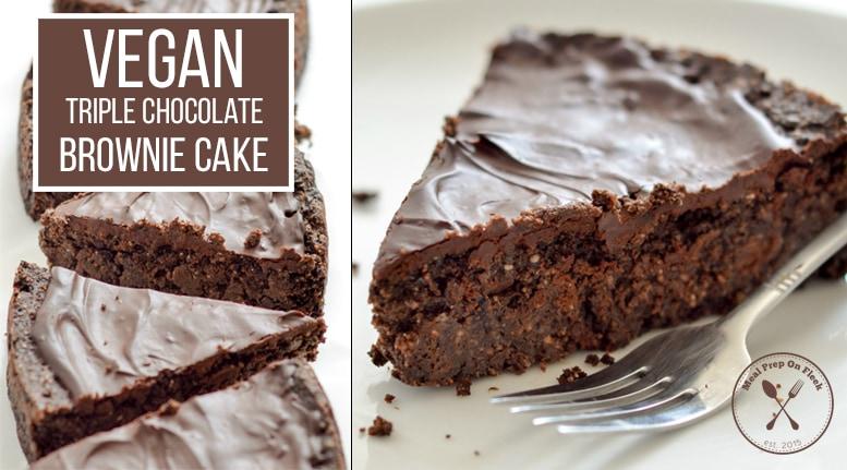 Vegan Triple Chocolate Brownie Cake