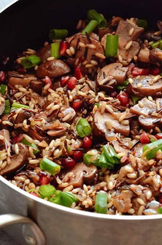 One Pan Mushroom, Pomegranate & Feta Wild Rice