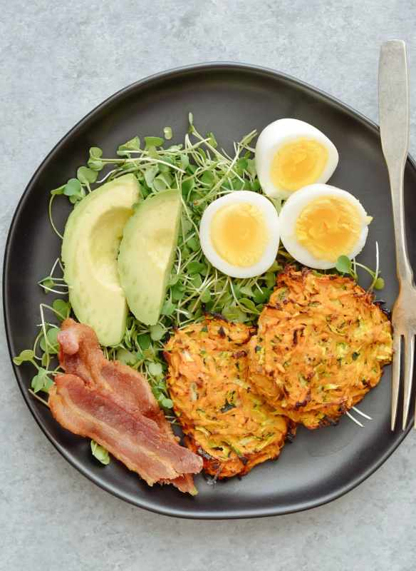 Whole30 Zucchini & Sweet Potato Hashbrown Meal Prep
