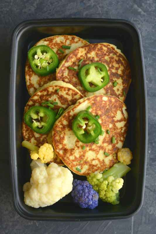 Cheesy Mexican Cauliflower Fritter Meal Prep