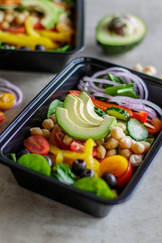 Vegan Chopped Chickpea Greek Salad Meal Prep