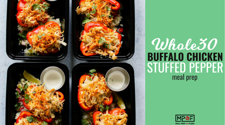 Buffalo Chicken Stuffed Pepper Meal Prep