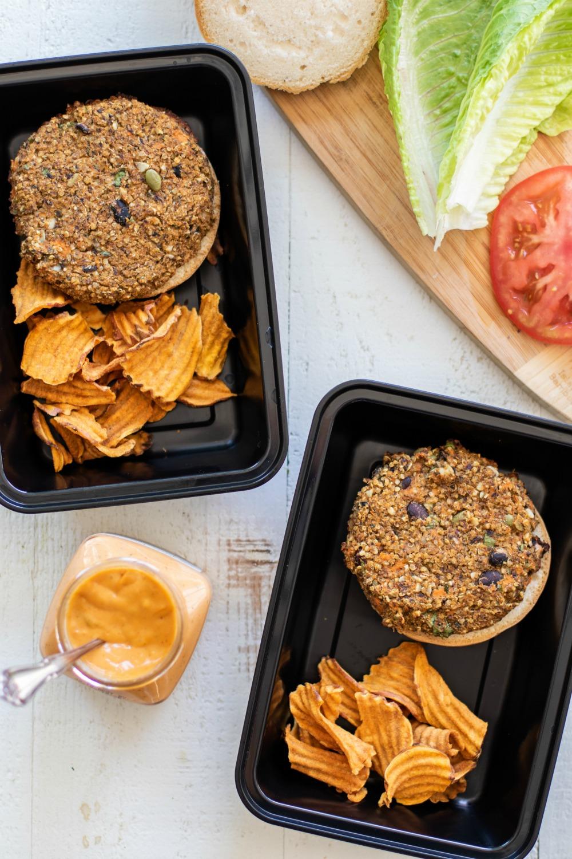 Sweet Potato & Black Bean Veggie Burger Meal Prep