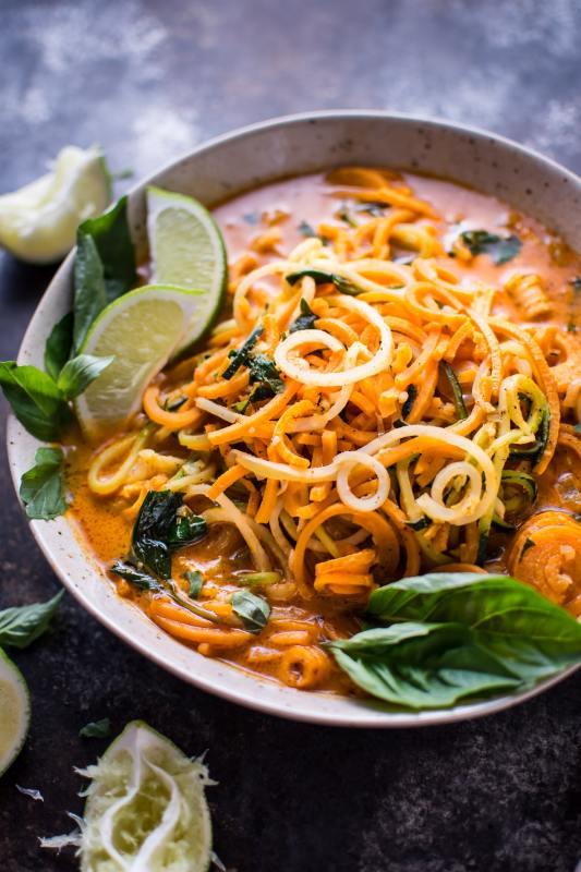 Vegan Spiralized Thai Lemongrass Coconut Curry Soup