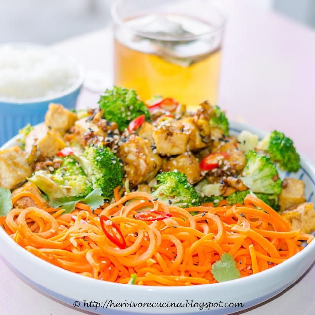 Baked Tofu Bowl With Carrot Noodles