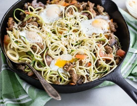 Spiralized Zucchini & Breakfast Sausage Skillet