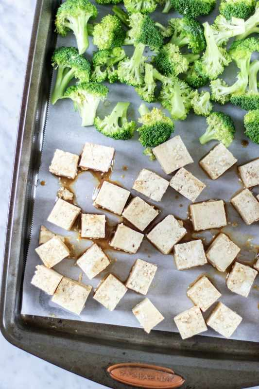 Vegan Sheet Pan Crispy Tofu and Broccoli