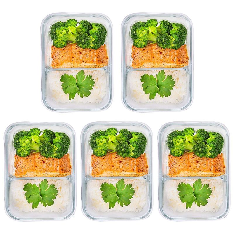 2 compartment glass meal prep containers