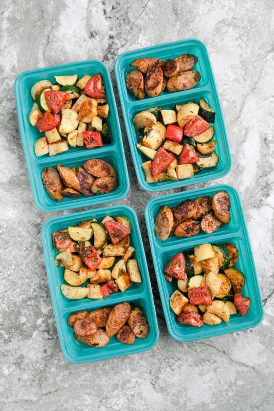 Balsamic Sausage and Veggie Meal Prep