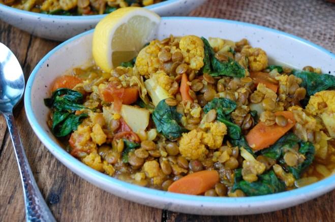 Slow Cooker Moroccan Lentil & Cauliflower Soup