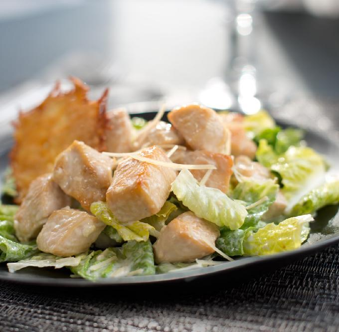 Caesar Chicken Salad with Parmesan Crisps