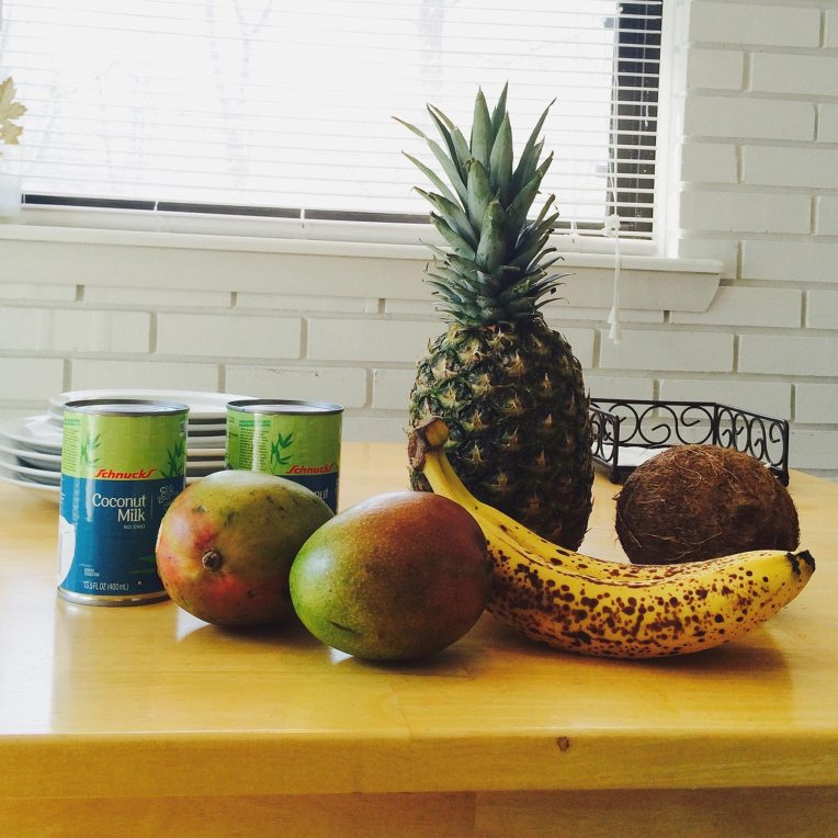 Fresh pineapple, coconut, bananas, and mangoes, all in the same meal. Yum!