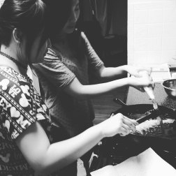 Jenny and Anne, working as a team to fry up the churros.
