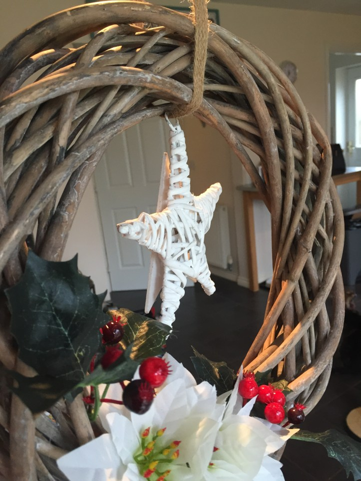 how to make a wicker wreath christmas door easy no sew