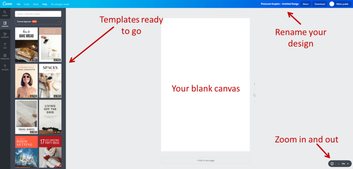 How to make a pinnable image using canva