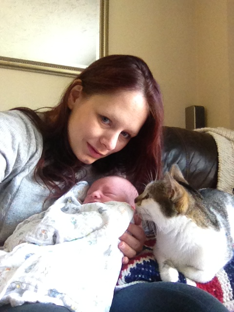 motherhood is tough selfie with baby and cat