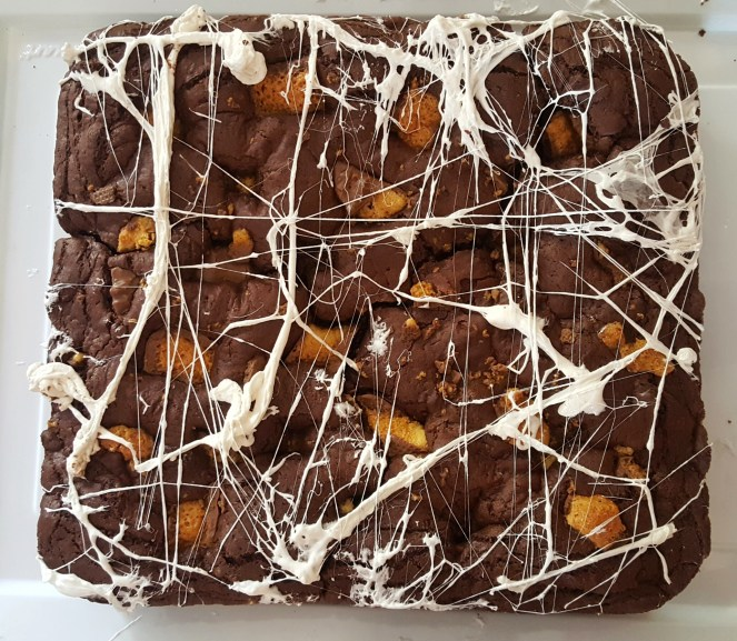 halloween chocolate honeycomb brownies