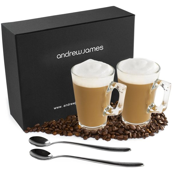 Andrew James Contemporary Design Latte Glass Set With 2 Long Handled Spoons And Stylish Presentation Gift Box
