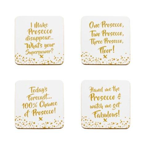 Prosecco slogan coasters. - Set of 4 Coasters