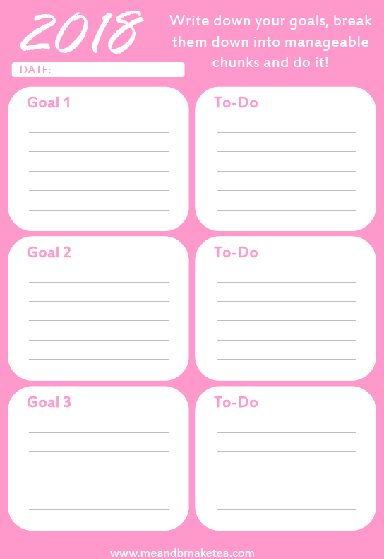 blog organizer goals and aims in pink