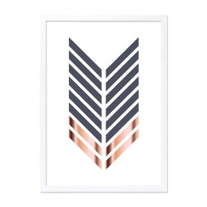 IMAGE CULT LIVING ARROW PRINT FRAMED POSTER, GREY AND COPPER