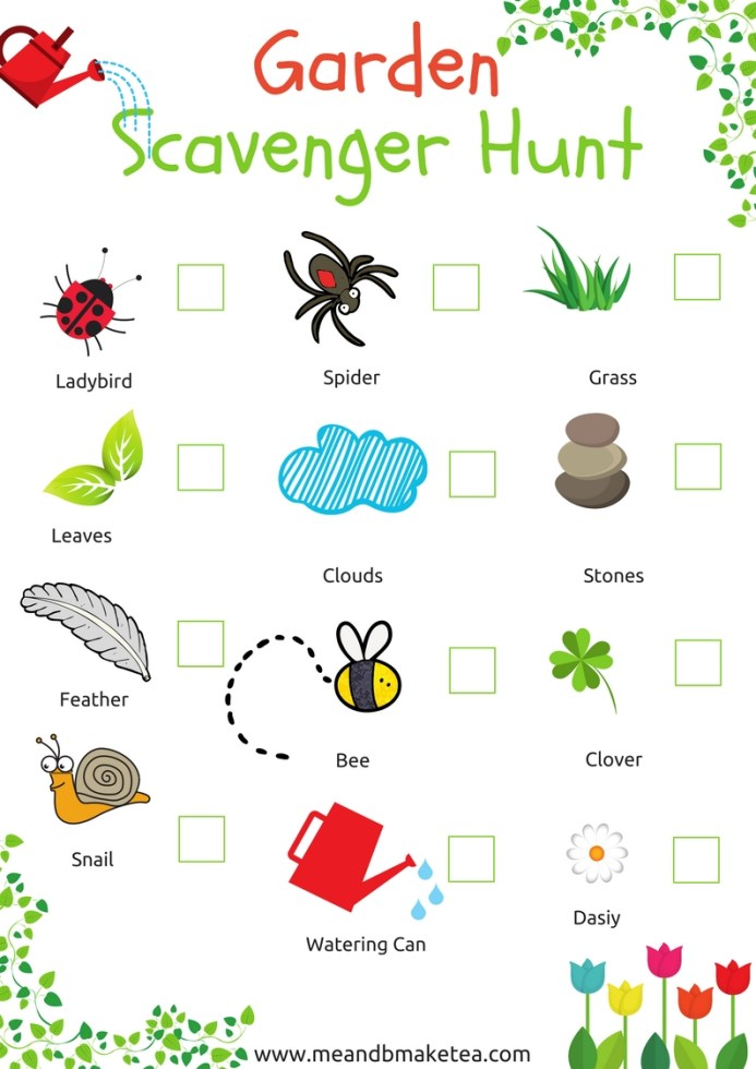 outdoor garden scavenger hunt and treasure hunt trail