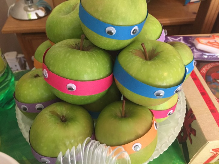 apples decorated ninja turtle party theme