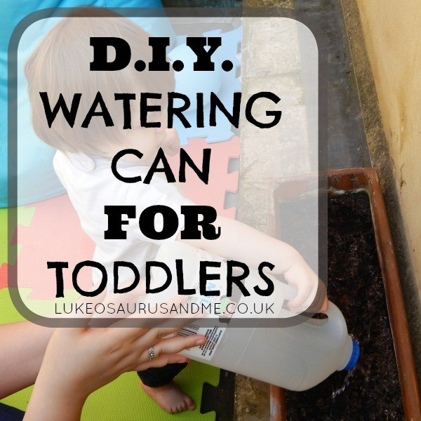 DIY watering can for toddlers made out of milk bottle